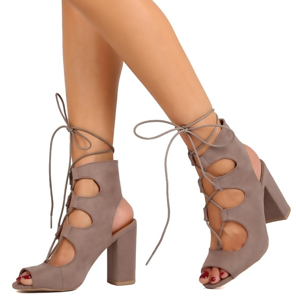 337fe5f40577c Faux suede lace up ankle strap chunky heels. M_5a7e0ecc8290afa0f316ab78